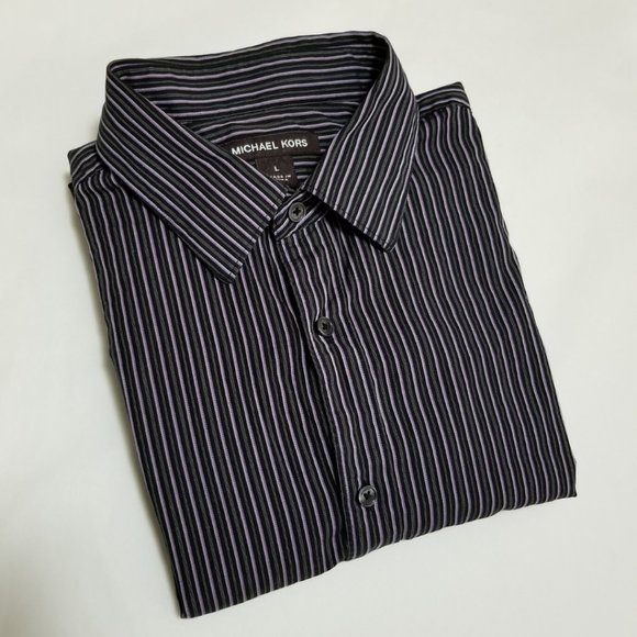 Michael Kors Black & Pink Striped Dress Shirt